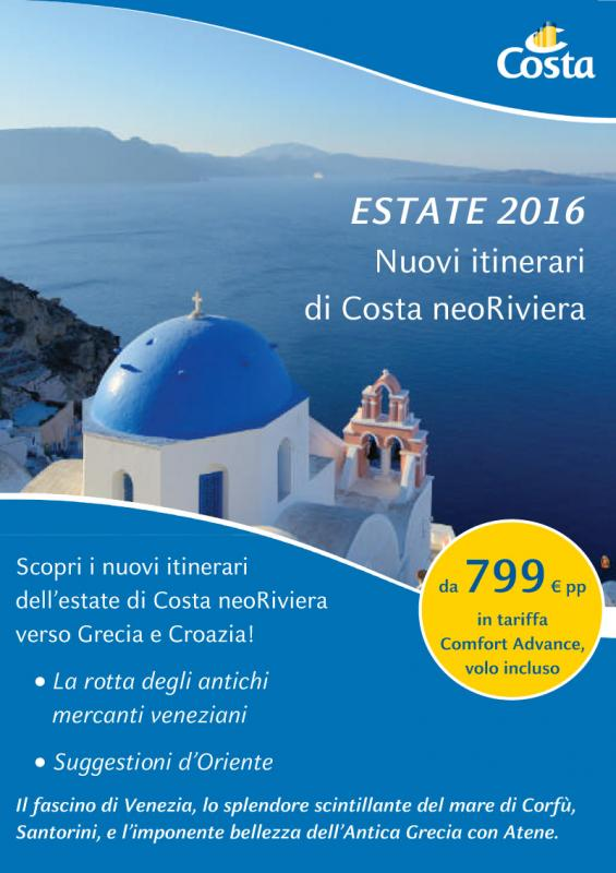 Estate 2016 Costa neoRiviera Volo Incluso