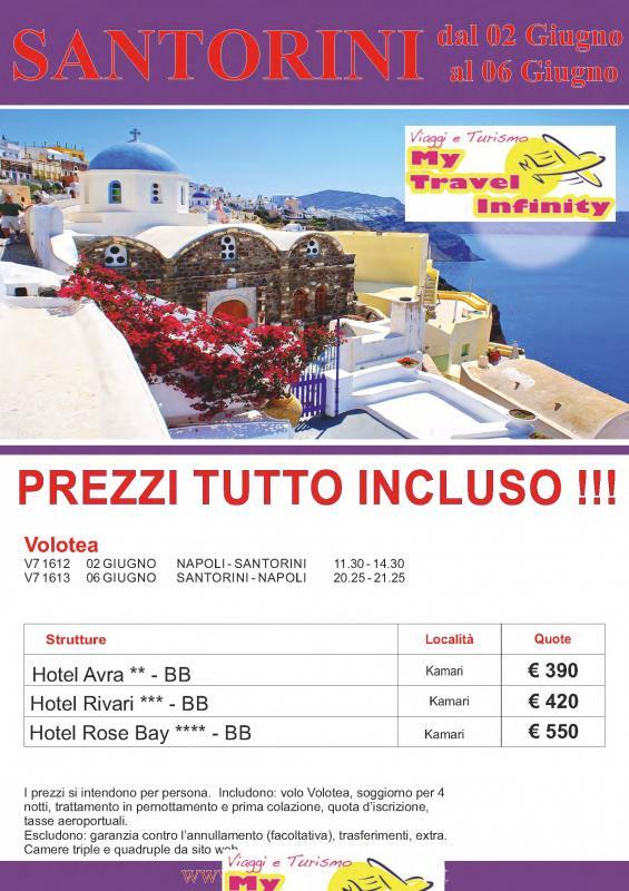 Grecia Santorini dal 2 al 6 Giugno Volo Incluso Partenza da Napoli